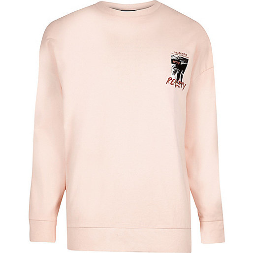 Peach orange 'reality' print sweatshirt
