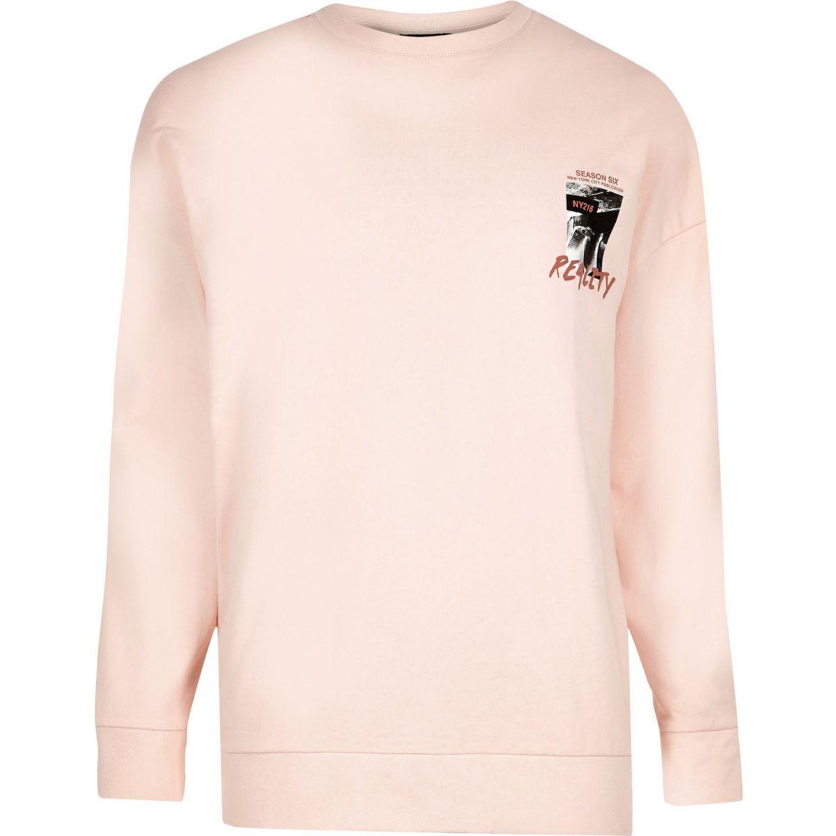 Peach orange 'reality' print sweatshirt