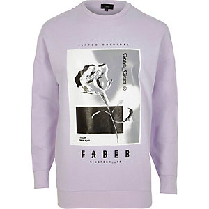 Light purple rose graphic print sweatshirt