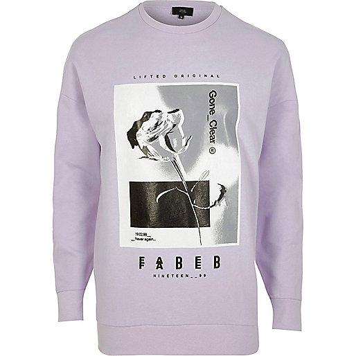 Light purple rose graphic print sweatshirt