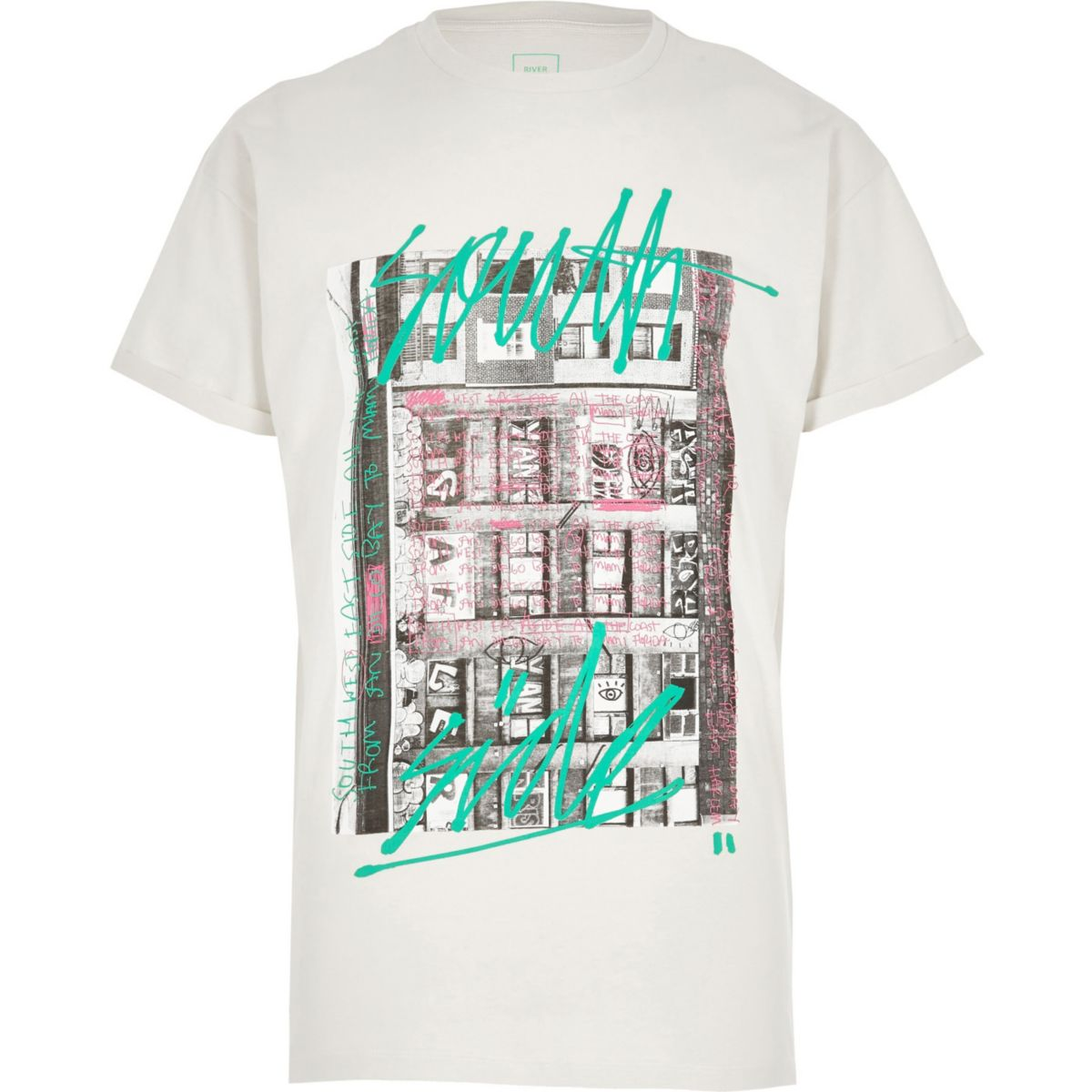 Cream graffiti print short sleeve T-shirt