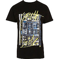 Black graffiti photo print T-shirt
