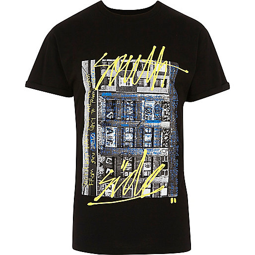 Black graffiti photo print T-shirt