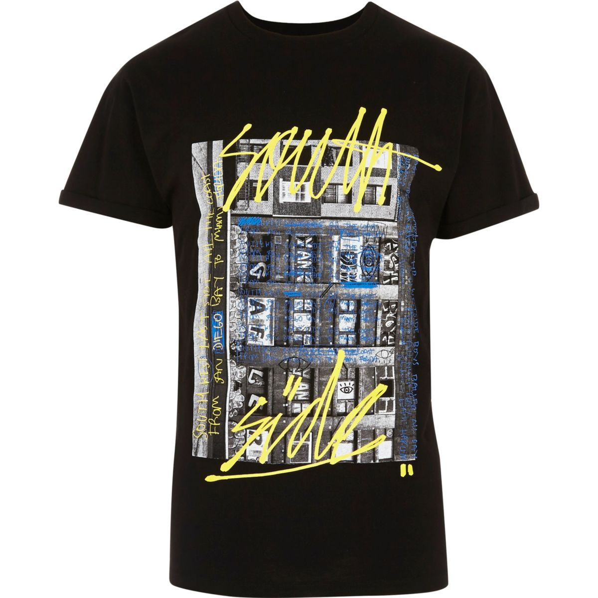 T-shirt à imprimé graffiti noir