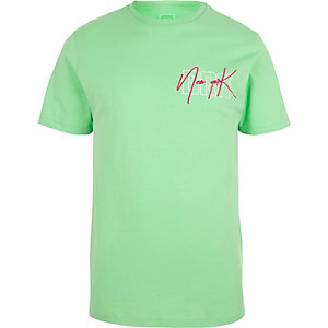 Light green 'New York' print slim fit T-shirt