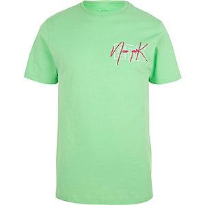T-shirt ajusté vert clair à imprimé « New York »