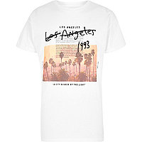 White 'Los Angeles' photo print T-shirt