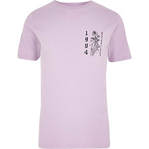 Light purple rose skeleton slim fit T-shirt
