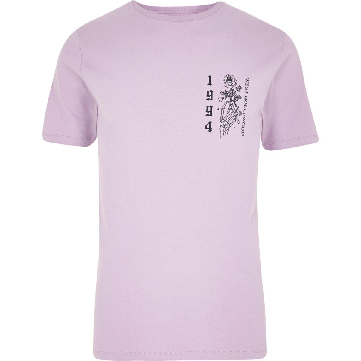 Light purple rose skeleton slim fit T-shirt