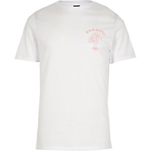 White 'High Hopes' print slim fit T-shirt