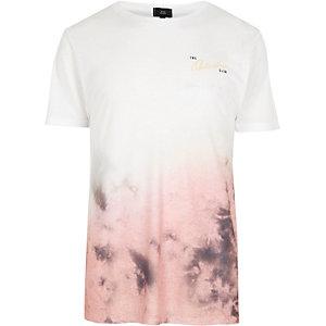 T-shirt rose en dégradé imprimé tie-dye à col ras-du-cou