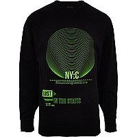 Sweat large imprimé « NYC » vert sur noir