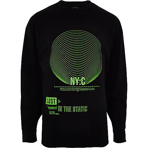 Black 'NYC' green print slouch fit sweatshirt