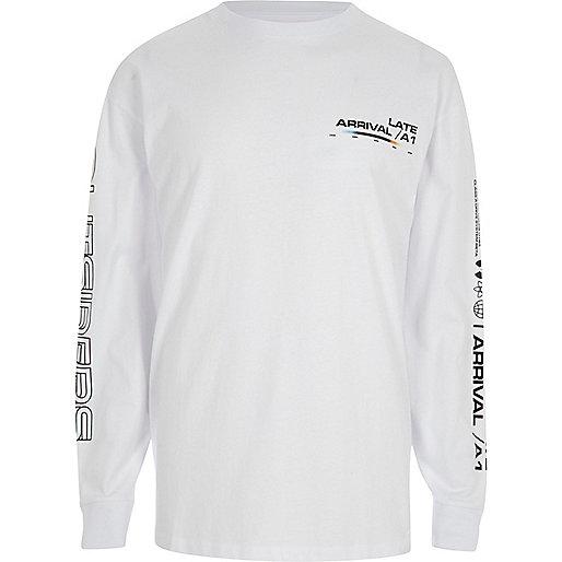 White 'Late Arrival' print slouch sweatshirt