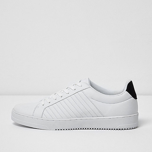 White quilted lace-up trainers