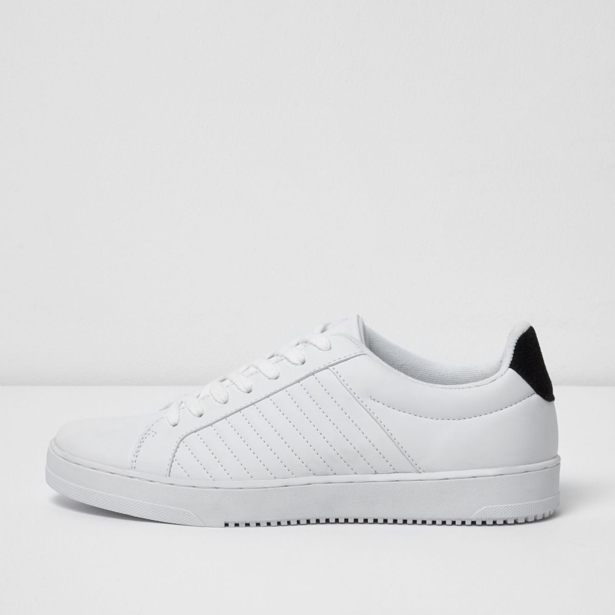 White quilted lace-up sneakers