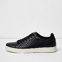 Black quilted lace-up trainers