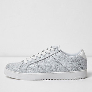 White cracked coated lace-up sneakers