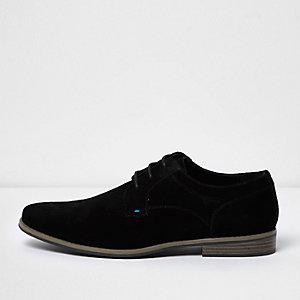 Black suede derby shoes
