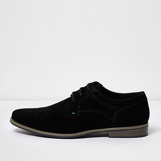 Black suede derby shoes