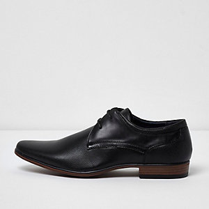 River Island Mens Blacks square toe leather derby shoes