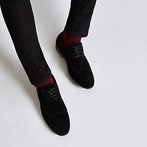 Richelieus en daim noirs à lacets