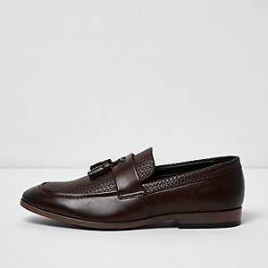 Dark brown tassel woven loafers