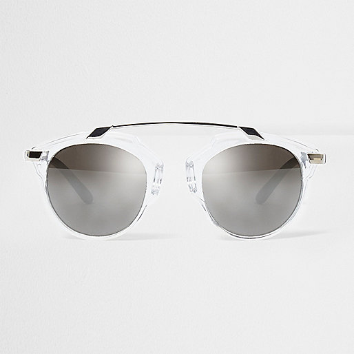 Clear round silver brow bar sunglasses