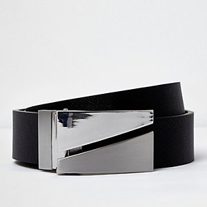 Black and silver tone split plate belt
