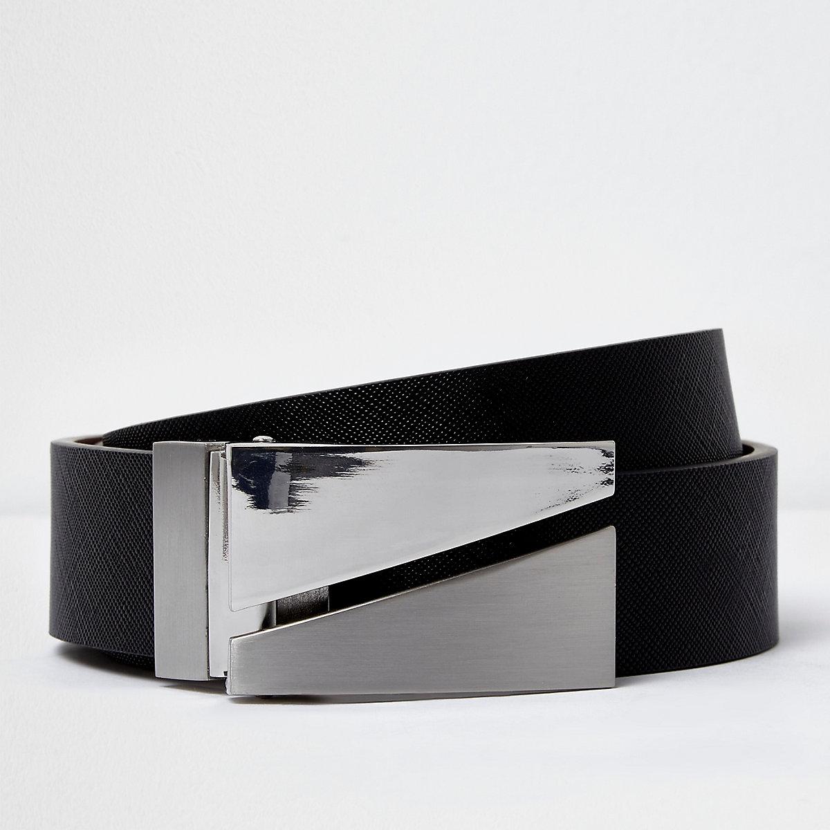 Black split plate reversible belt
