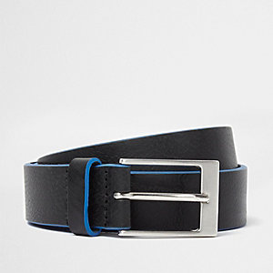 Black leather blue edge buckle belt