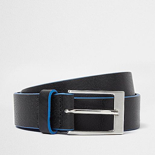 Black leather blue edge buckle belt