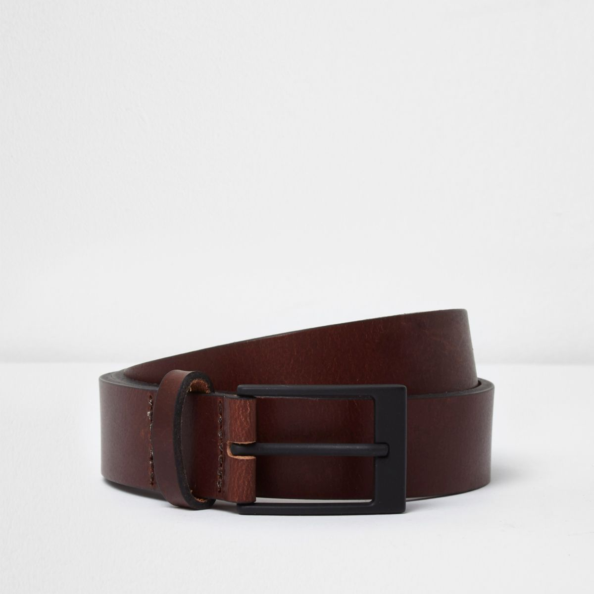 Brown leather black buckle belt