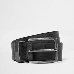 Grey leather buckle belt