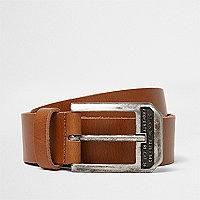 Tan leather buckle belt
