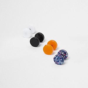 Schwarze Ohrringe mit Neonstecker im Multipack