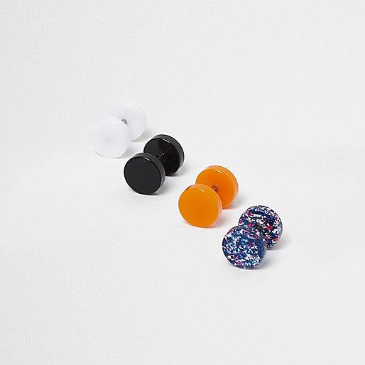 schwarze ohrringe mit neonstecker im multipack ohrringe. Black Bedroom Furniture Sets. Home Design Ideas
