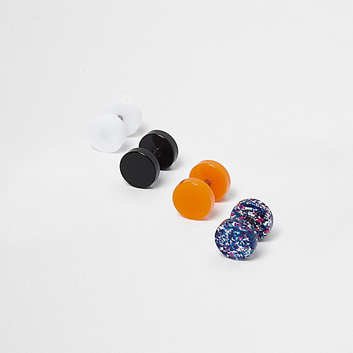 Black neon plug earring multipack