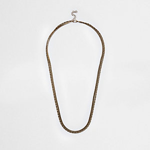Brown gold tone double chain necklace