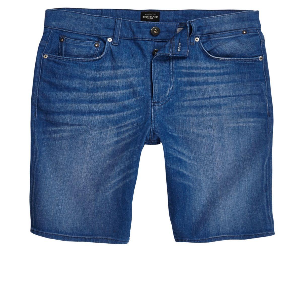 Short en jean bleu coupe skinny