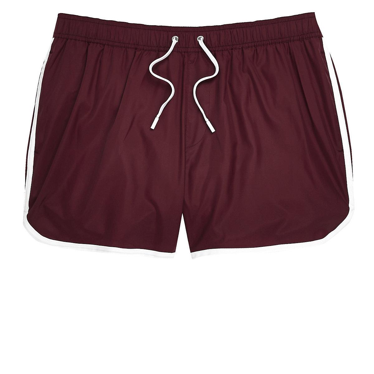 Big and Tall burgundy short swim trunks