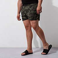 Big and Tall dark green camo swim shorts