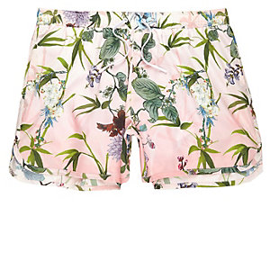 Big and Tall - Roze korte zwemshort met bloemenprint