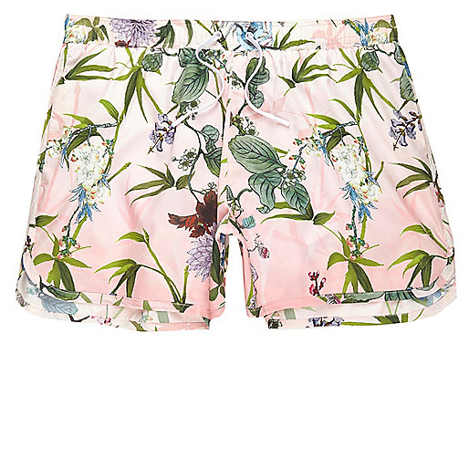 Big and Tall pink floral short swim trunks