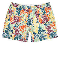 Big and Tall – Short de bain court imprimé palmiers orange