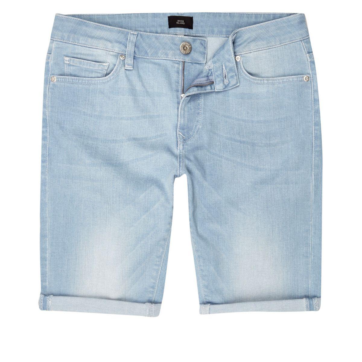 Light blue wash skinny fit denim shorts