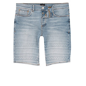 Light blue aztec fade skinny denim shorts
