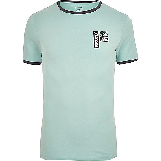 Light green tipped print muscle fit T-shirt