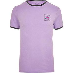 T-shirt ajusté violet à bordure contrastante