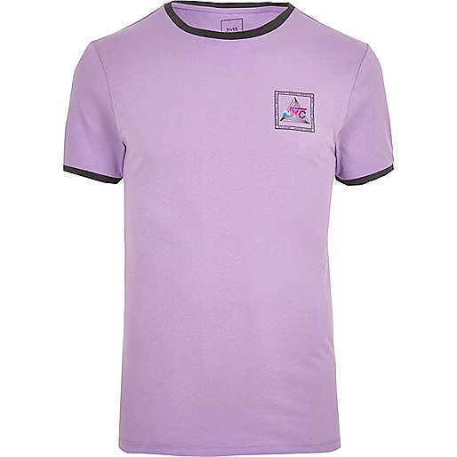 Purple tipped print tipped muscle fit T-shirt